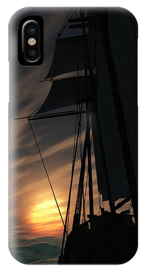 Ships IPhone X Case featuring the digital art The Voyage Home by Richard Rizzo