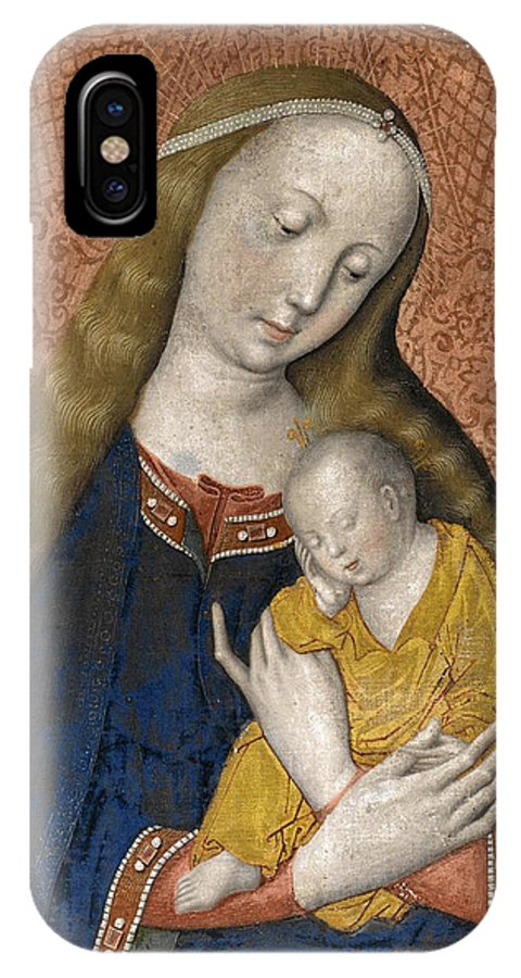 Master Of The Dijon Madonna IPhone X Case featuring the painting The Vrigin And Child by Master of the Dijon Madonna