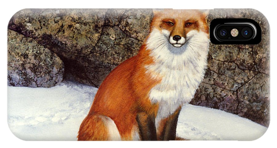 Wildlife IPhone X Case featuring the painting The Wait Red Fox by Frank Wilson
