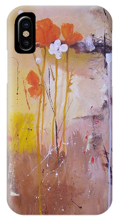 Abstract IPhone X Case featuring the painting The Wallflowers by Ruth Palmer