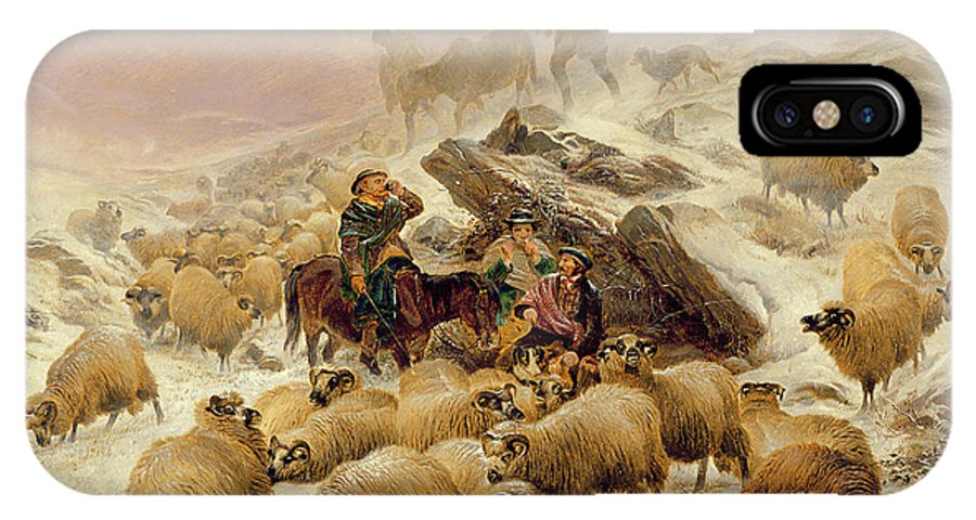 Sheep IPhone X Case featuring the painting The Warmth Of A Wee Dram by TS Cooper