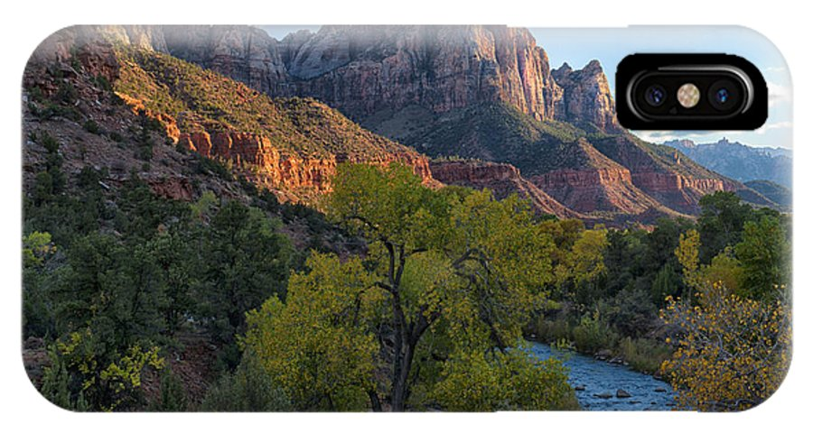 Hdr IPhone X Case featuring the photograph The Watchman And Virgin River by Sandra Bronstein