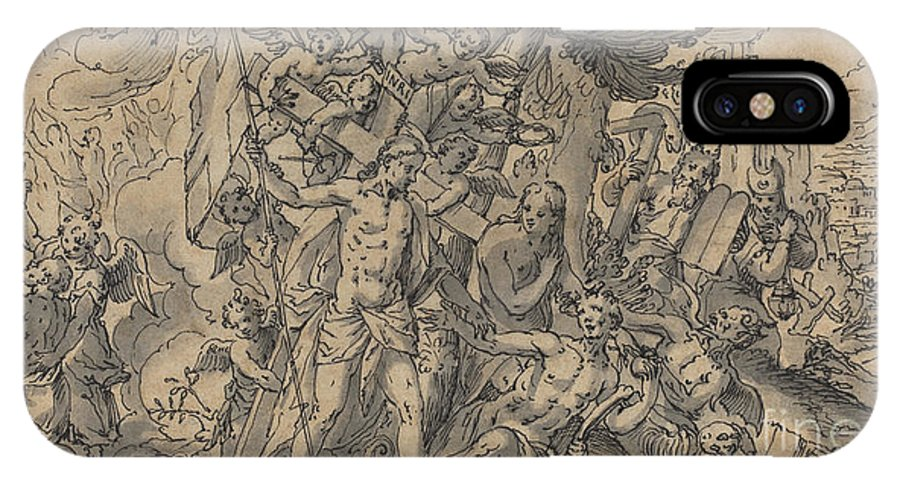 IPhone X Case featuring the drawing The Way Of Salvation by Georg Pecham