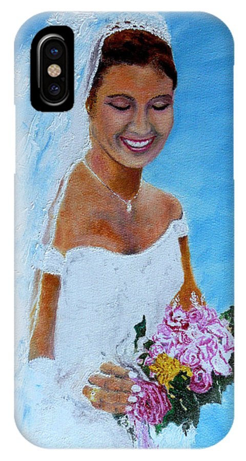 Wedding IPhone X Case featuring the painting the wedding day of my daughter Daniela by Helmut Rottler
