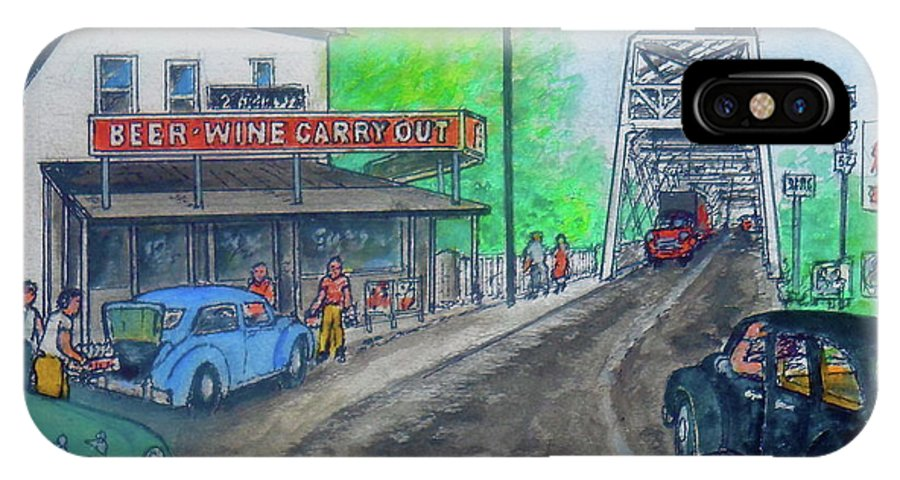 Portsmouth Ohio Carryout West 2nd Street 1950 IPhone X Case featuring the painting The West End Carryout At The Bridge by Frank Hunter