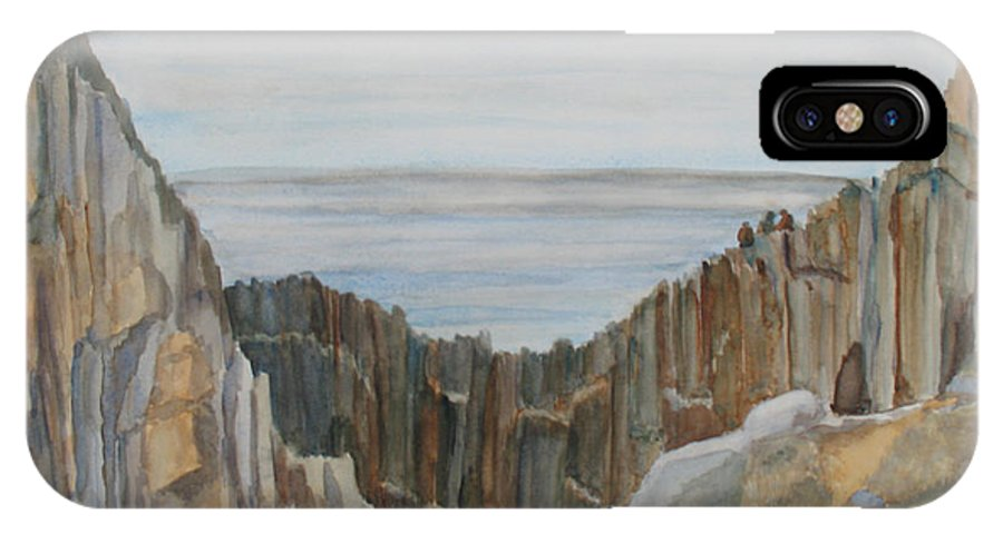 Ocean IPhone X Case featuring the painting The Whale Watchers At Elephant Rock by Jenny Armitage