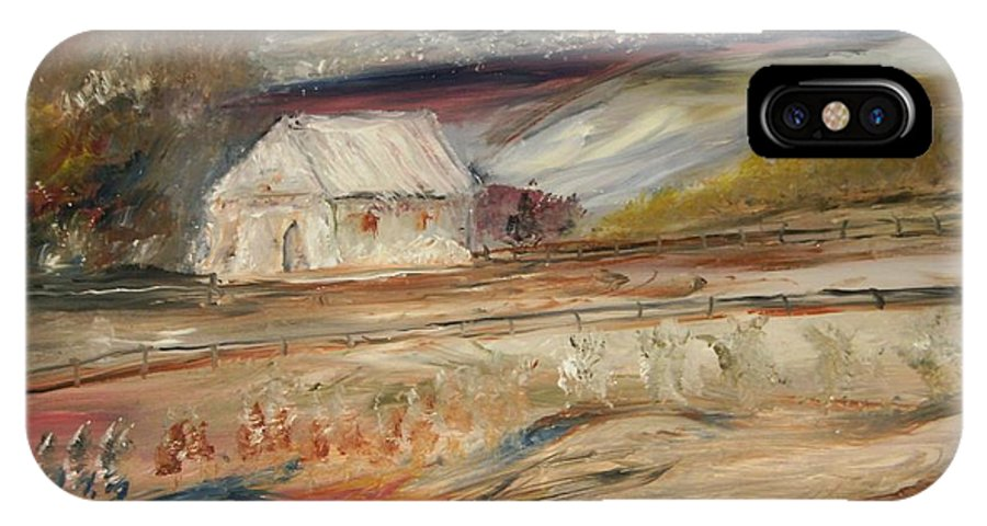 Landscape IPhone X Case featuring the painting The White Barn by Edward Wolverton