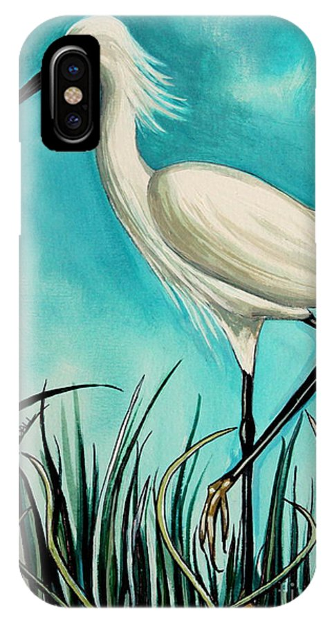 Bird IPhone X Case featuring the painting The White Egret by Elizabeth Robinette Tyndall