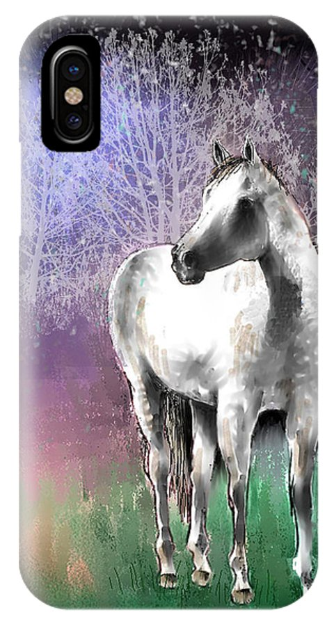 Horse IPhone X Case featuring the digital art The White Horse by Arline Wagner