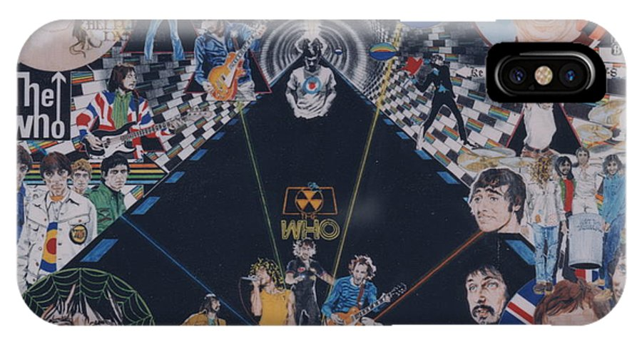 Pete Townshend;roger Daltrey;john Entwistle;keith Moon;quadrophenia;opera;story;four;music;guitars;lasers;mods;rockers;london;brighton;1964 IPhone X Case featuring the drawing The Who - Quadrophenia by Sean Connolly