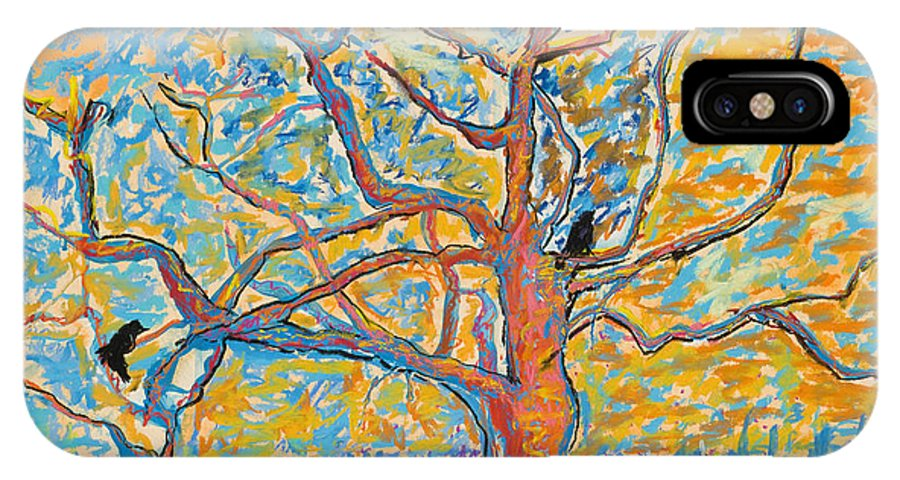 Abstract Painting IPhone X Case featuring the mixed media The Wind Dancers by Pat Saunders-White