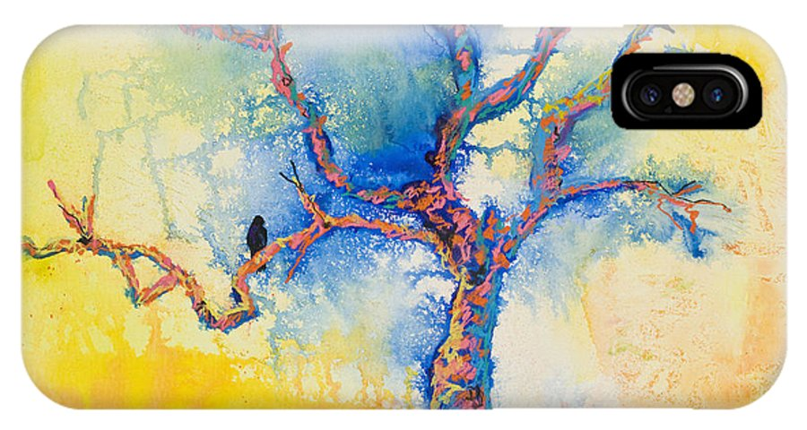 Abstract Painting IPhone X Case featuring the mixed media The Wind Riders by Pat Saunders-White