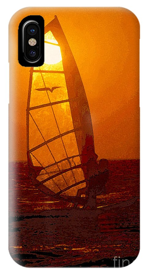 Windsurfing IPhone X Case featuring the painting The Windsurfer by David Lee Thompson