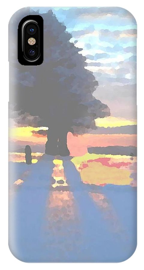 Sky.clouds.winter.sunset.snow.shadow.sunrays.evening Light.tree.far Forest. IPhone X Case featuring the digital art The Winter Lonely Tree by Dr Loifer Vladimir