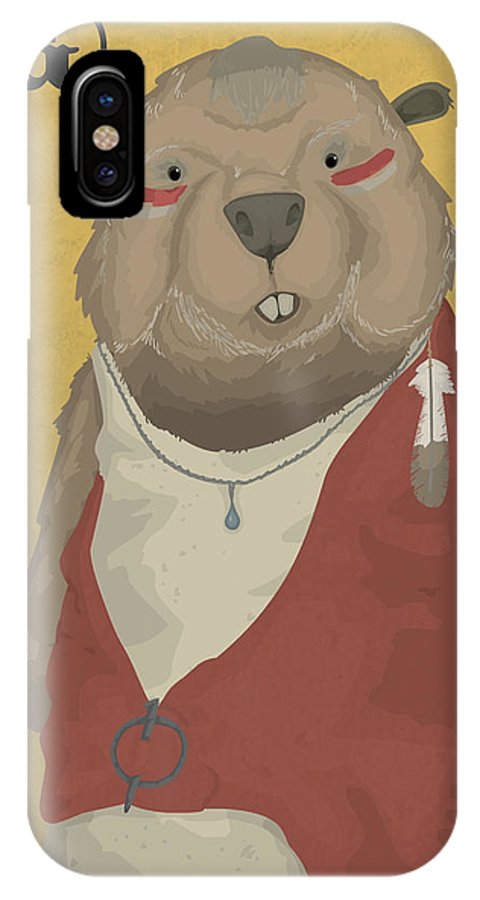 Cherokee IPhone X / XS Case featuring the digital art The Wise Beaver by Alex Stephenson