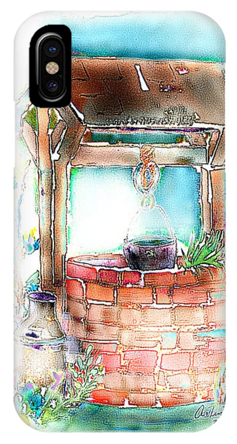 Well IPhone X Case featuring the mixed media The Wishing Well by Arline Wagner