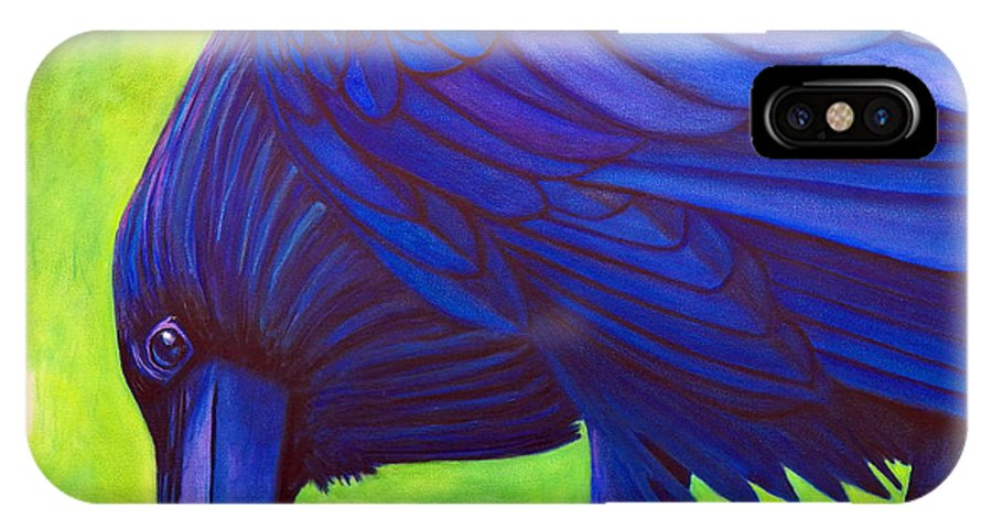 Raven IPhone X Case featuring the painting The Witness by Brian Commerford