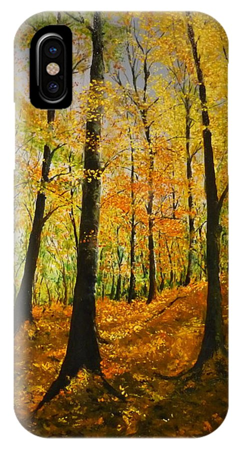 Fall IPhone X Case featuring the painting The Wood For The Trees by Lizzy Forrester