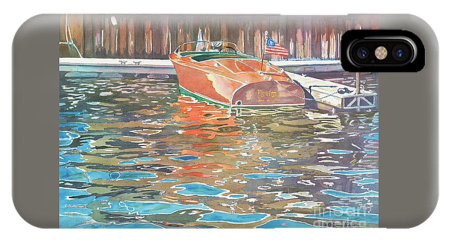 Boats IPhone X / XS Case featuring the painting The Wooden Boat by LeAnne Sowa