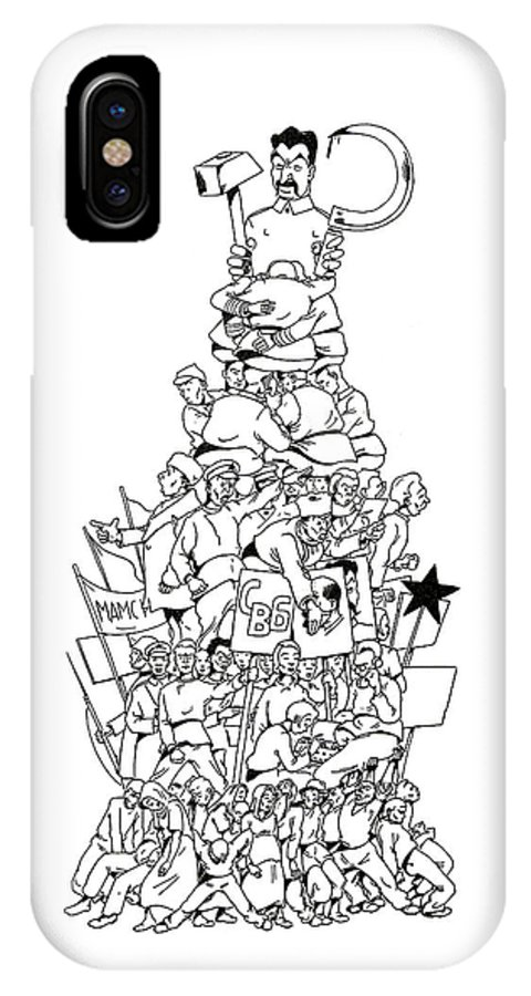 Soviet IPhone X Case featuring the drawing The Workers' Paradise by Russian School
