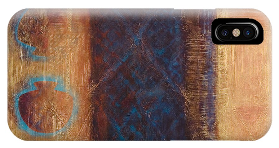 Abstract IPhone X Case featuring the painting The X Factor Alchemy Of Consciousness by Kerryn Madsen-Pietsch