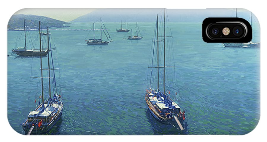 Yachts IPhone X Case featuring the painting The Yachts by Simon Kozhin