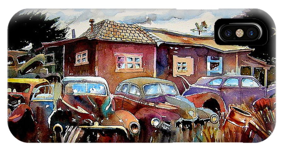 Cars IPhone X Case featuring the painting The Yard Ornaments by Ron Morrison