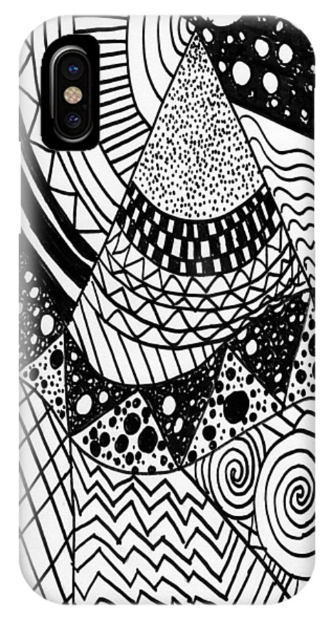 Zendoodle IPhone X Case featuring the drawing The Zendoodle Desert by Alicia Counter