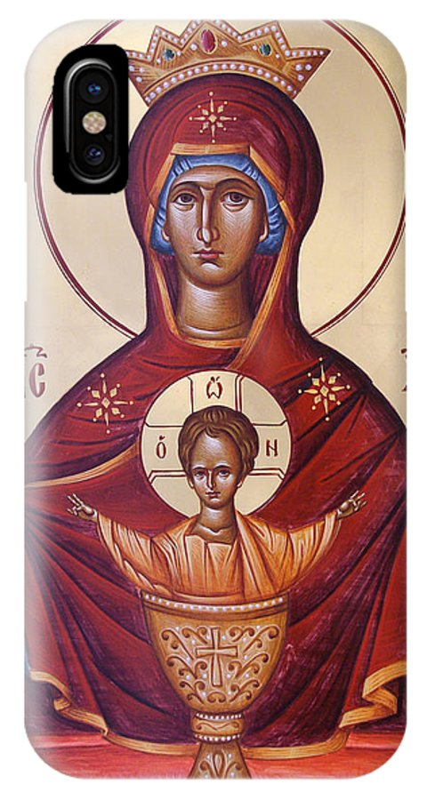 Icon IPhone X Case featuring the painting Theotokos The Inexhaustable Cup by Julia Bridget Hayes