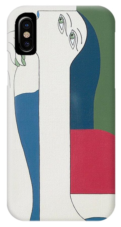 Modern Special Women Bleu Red Green IPhone Case featuring the painting Thinking by Hildegarde Handsaeme