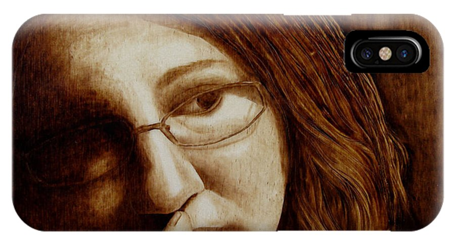 Pyrography; Woodburning; Sepia; Head; Hand IPhone Case featuring the pyrography Thinking by Jo Schwartz