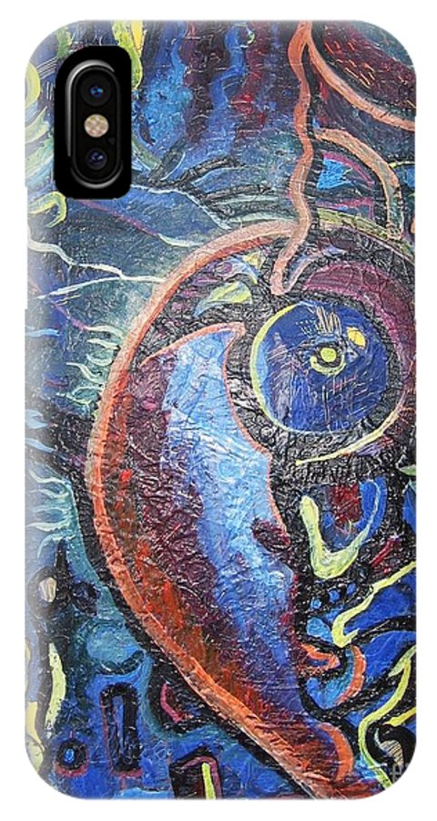Abstract Contemporary Home Blue Oil Canvas Board IPhone Case featuring the painting Thinking Of Home by Seon-Jeong Kim