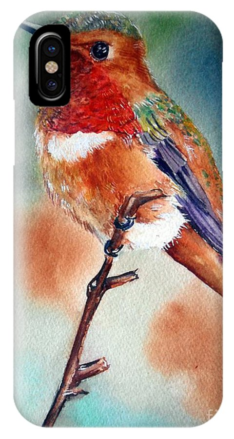 Hummingbird Art IPhone X Case featuring the painting Thinking Of You by Patricia Pushaw