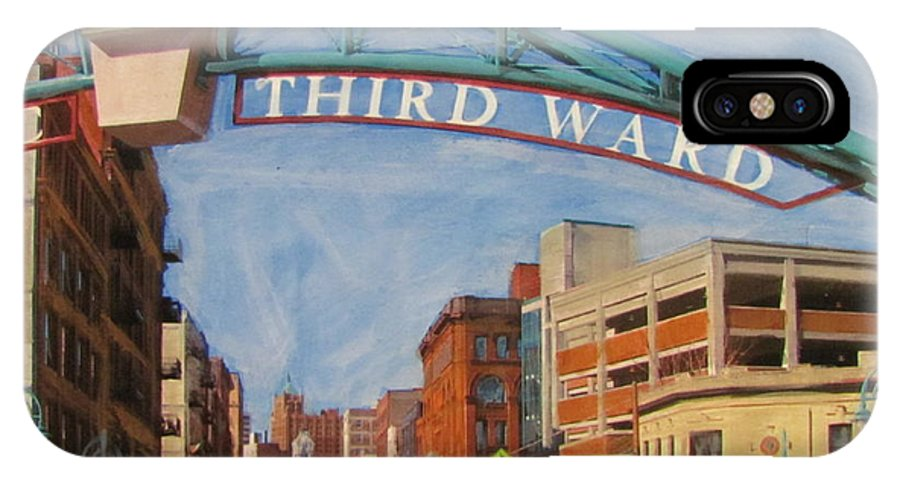 Milwaukee IPhone X Case featuring the mixed media Third Ward Entry by Anita Burgermeister