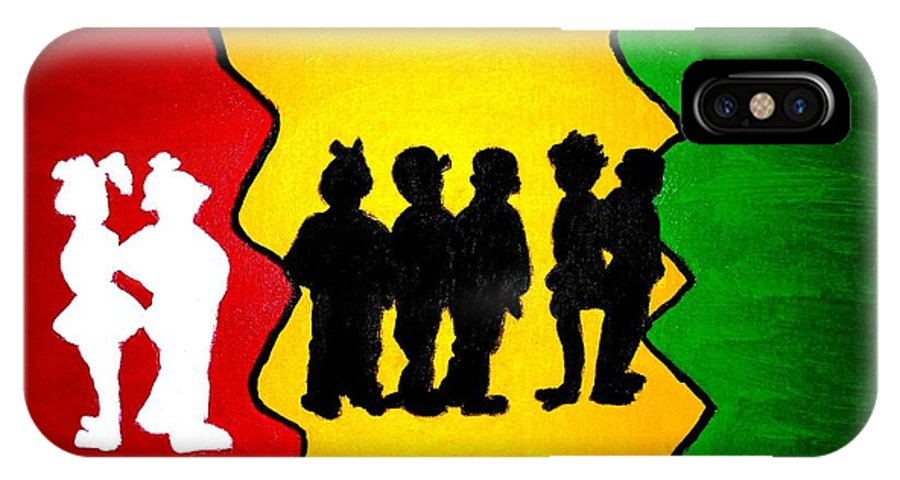 Acrylic IPhone X Case featuring the painting Thirdworld Kids by Lorna Lorraine