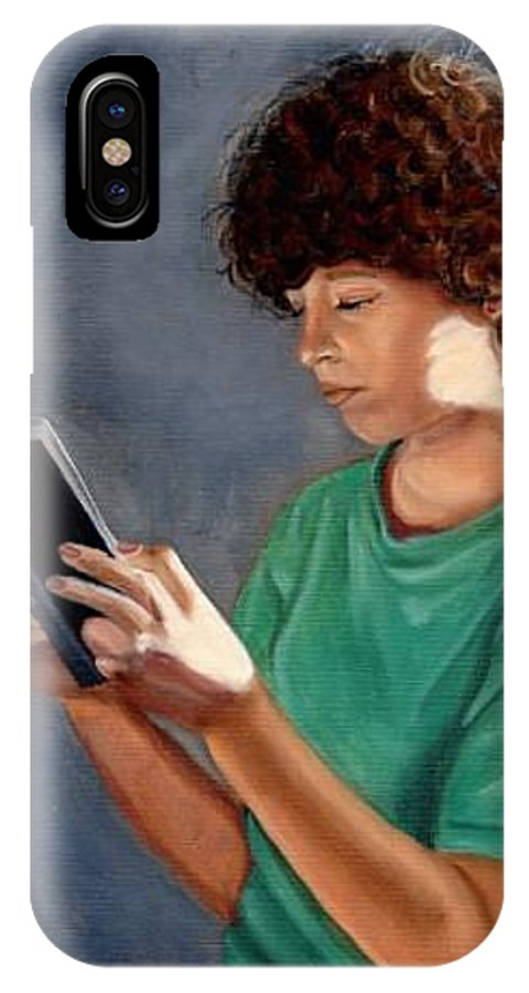 Portrait IPhone X / XS Case featuring the painting Thirst For Knowledge by Toni Berry