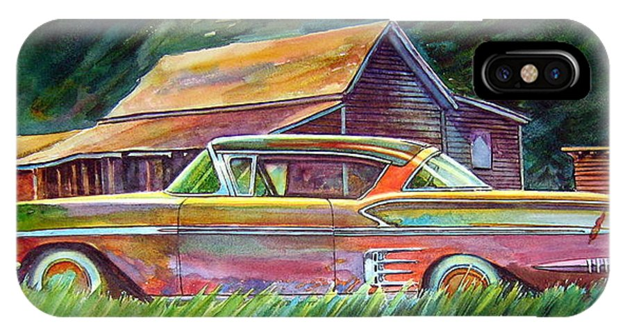 Rusty Car Chev Impala IPhone X Case featuring the painting This Impala Doesn by Ron Morrison