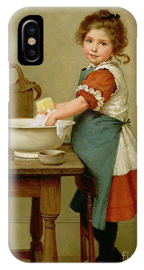 This Is The Way We Wash Our Clothes (oil On Canvas) By George Dunlop Leslie (1835-1921) Learning; Mother; Teaching;child; Washing; Laundry; Girl; Basin; Scrubbing; Chore; Domestic Scene; Soap; Watering Can; Apron; Girl IPhone X Case featuring the painting This Is The Way We Wash Our Clothes by George Dunlop Leslie
