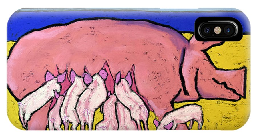 Pigs IPhone X Case featuring the painting This Little Piggie by David Hinds