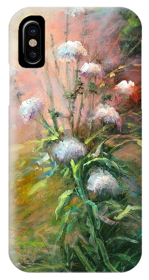 Flowers IPhone X Case featuring the painting Thistles by Sally Seago
