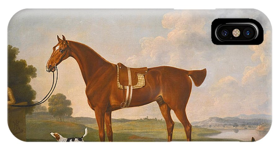 Thomas Stringer IPhone X Case featuring the painting Thomas Egerton's Chestnut Hunter With A Groom And Two Hounds And A Terrier In A River Landscape by Thomas Stringer