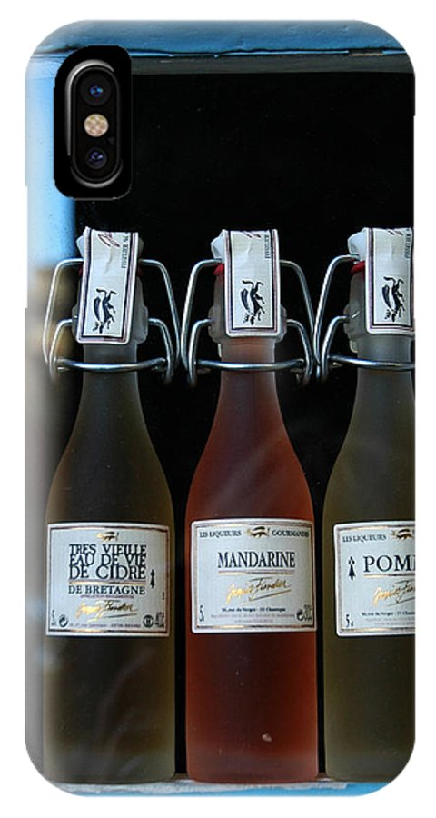 Color Photograph IPhone X Case featuring the photograph Three Bottles Of Liqueur by Dan Albright