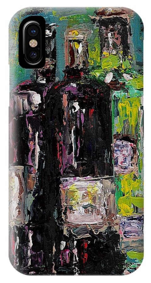 Wine IPhone X Case featuring the painting Three Bottles Of Wine by Frances Marino