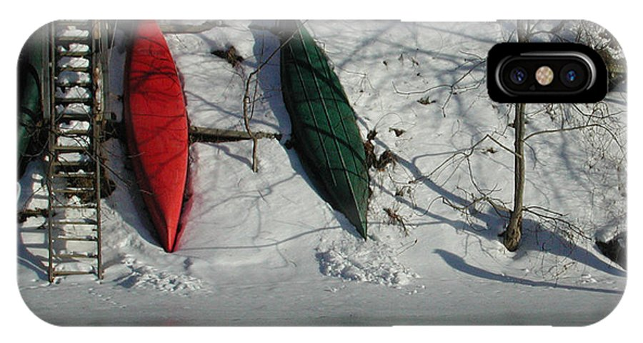 Canoe IPhone X Case featuring the photograph Three Canoes by Kathi Shotwell
