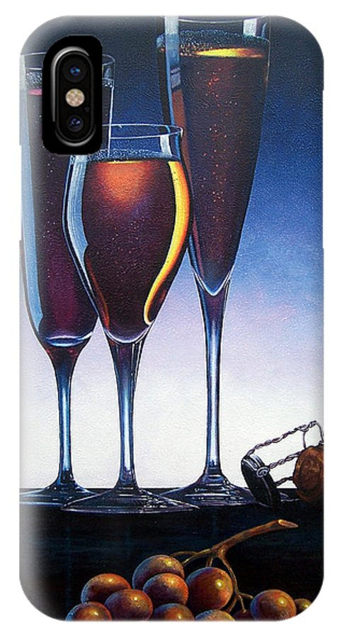 Wine Glasses Champagne Cork Grapes Painting IPhone X Case featuring the painting Three Champagne Glasses by Glenda Stevens