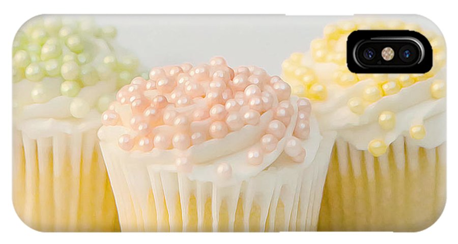 Cupcakes IPhone X Case featuring the photograph Three Cupcakes by Art Block Collections