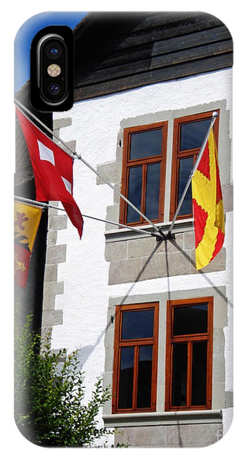 Switzerland IPhone Case featuring the photograph Three Flags by Jeff Barrett