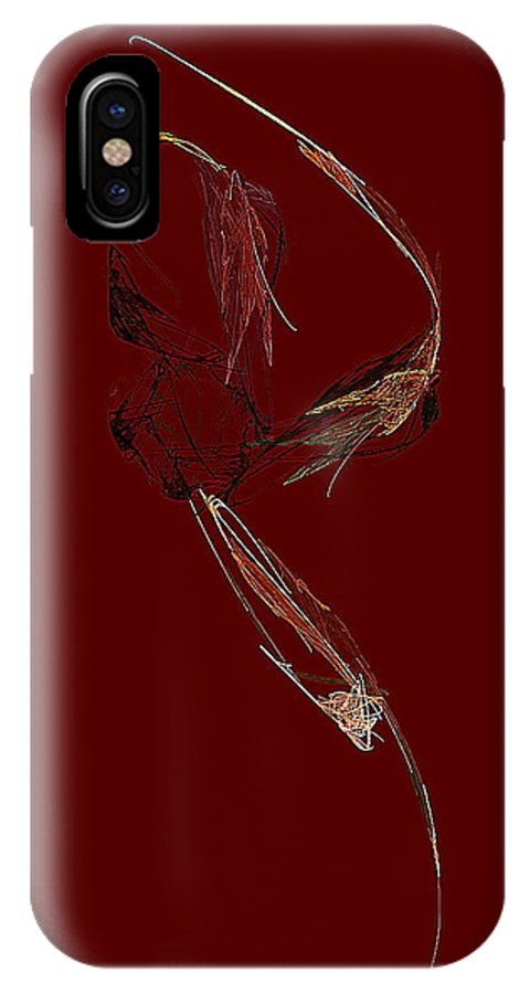 Ink And Pen IPhone X Case featuring the digital art Three Flowers And Leaf by Viktor Savchenko