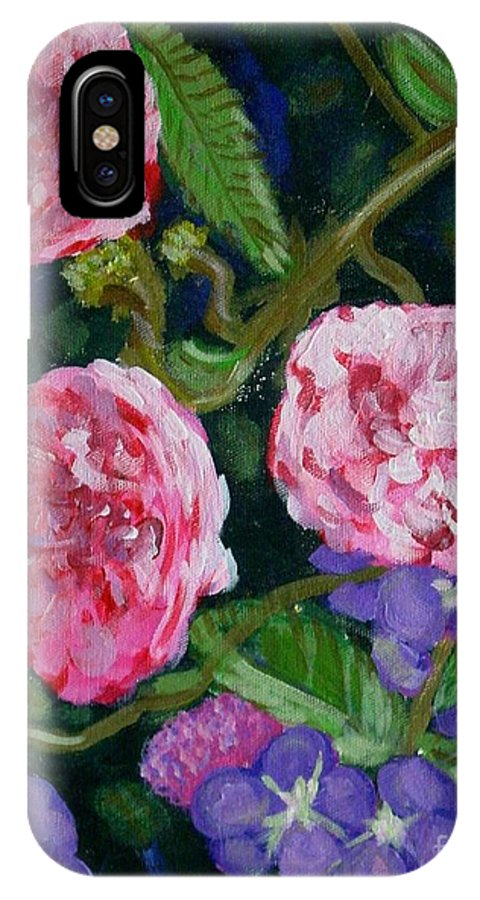 Roses IPhone X Case featuring the painting Three For The Show by Laurie Morgan