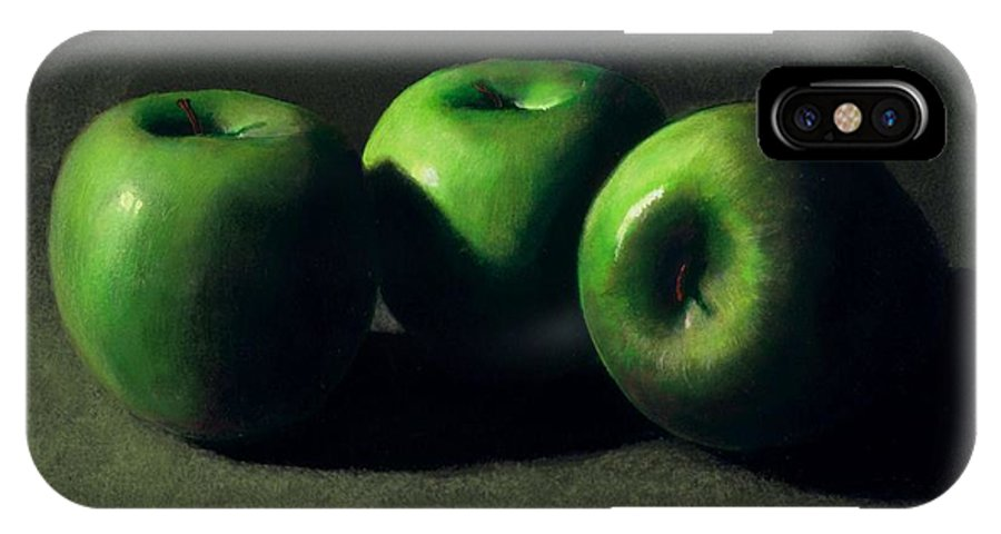 Still Life IPhone X Case featuring the painting Three Green Apples by Frank Wilson